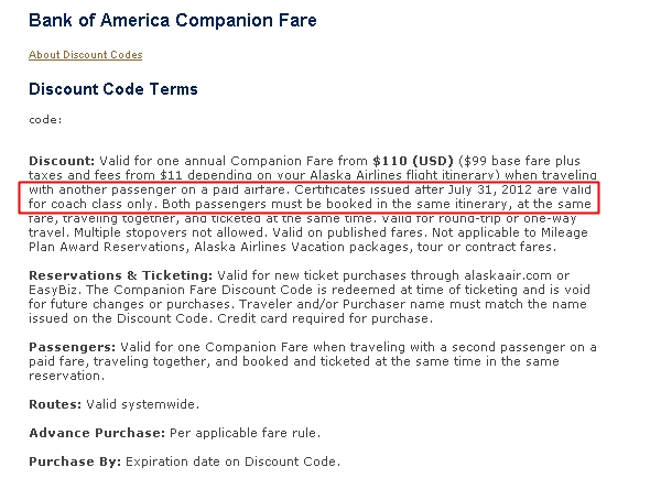 Alaska Visa Companion Fare: Not Valid on First Class after July 31