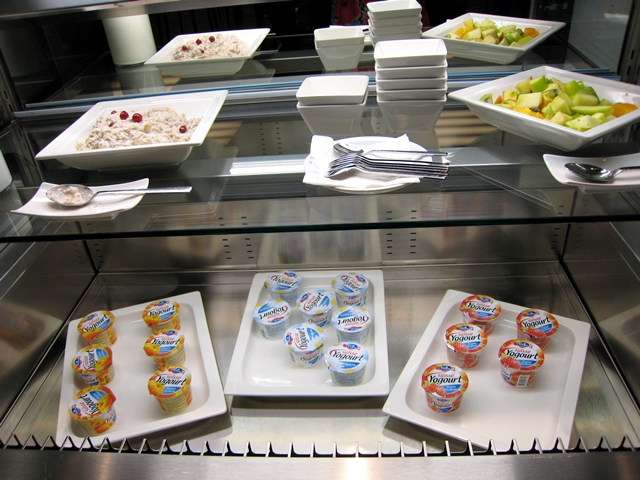 Swiss Arrivals Lounge at Zurich Airport-Yogurt and Fruit