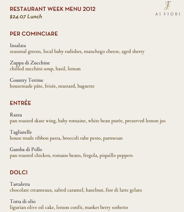 Ai Fiori NYC Restaurant Week Menu