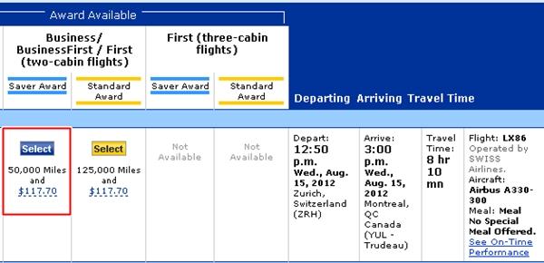SWISS Business Class ZRH-YUL is 50,000 United miles