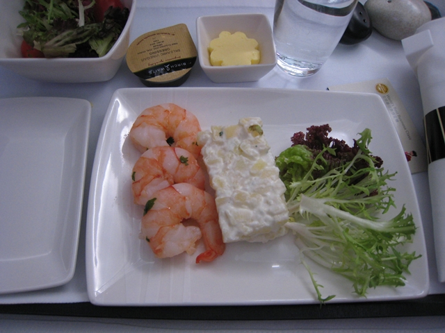Cathay Pacific Business Class Review 747-400 to Bali-Prawn Appetizer