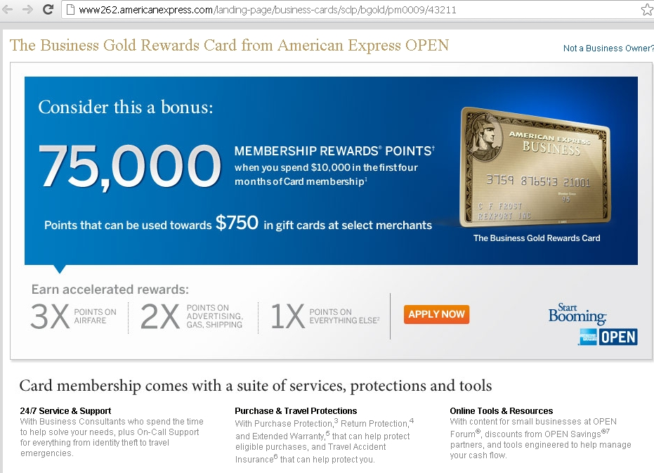 Today Only: AMEX Business Gold Rewards 75000 Bonus Points