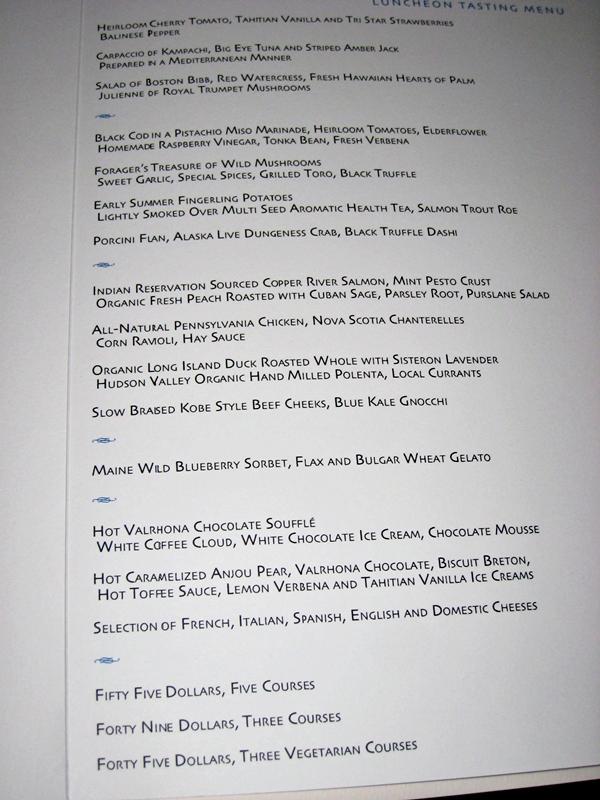 Bouley, NYC Restaurant Review - Menu