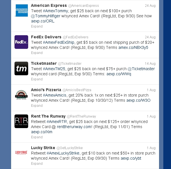 AMEX Sync Twitter Deals