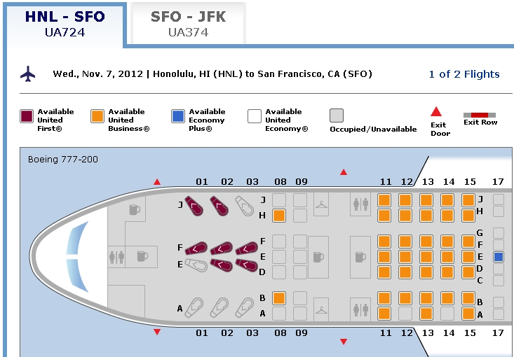 Flat Bed Seats To Hawaii United First Class Nyc Hnl For