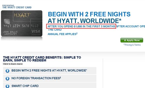 Hyatt Visa Offer Changed to $1000 Minimum Spend on Hyatt and Chase sites