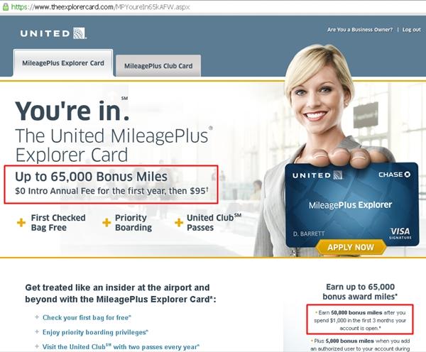 United MileagePlus Explorer 65000 65K Offer
