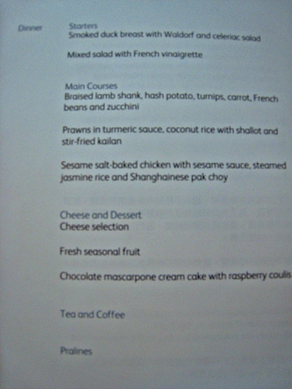 Cathay Pacific First Class Bali to Hong Kong Review - Business Class Menu