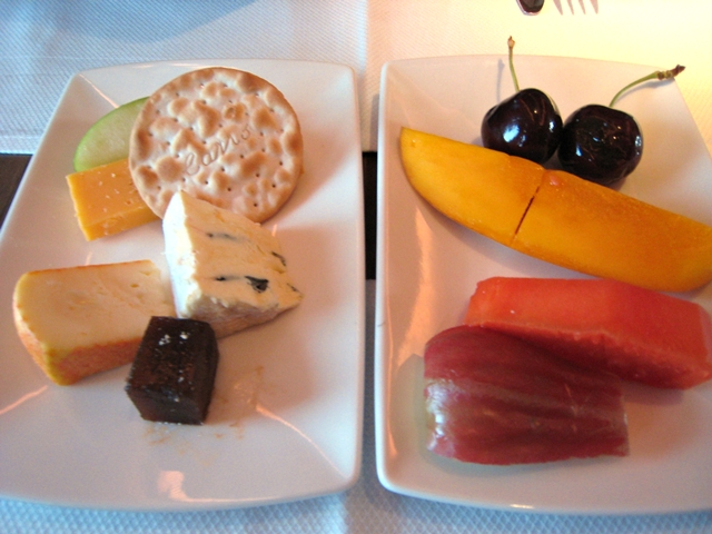 Cathay Pacific First Class Bali to Hong Kong Review - Cheese Plate and Fruit