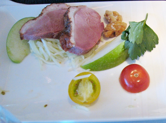 Cathay Pacific First Class Bali to Hong Kong Review - Smoked Duck Appetizer