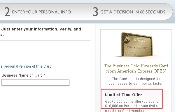 75,000 Points AMEX Business Gold Rewards Card