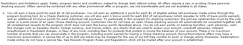 Chase Exclusives Terms as of October 2012