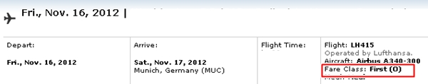 Lufthansa First Class Award Space Booked 15 Days in Advance