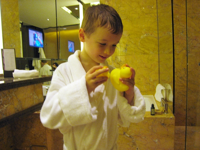 Top 10 luxury hotel amenities for kids - Rubber ducks and bathrobe, Four Seasons Hong Kong