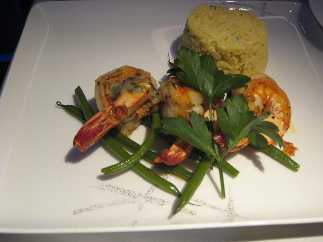 Cathay Pacific First Class Review: Pan-fried King Prawns with Garlic Butter