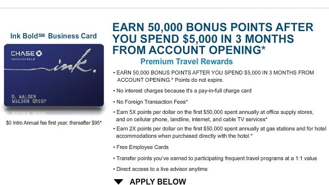 Maximizing the Chase Ink Bold 50000 Bonus-How to Meet Minimum Spend