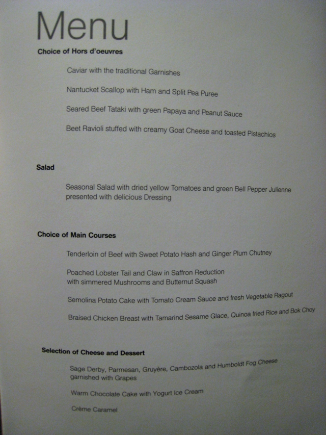 Lufthansa New First Class Review - Dinner Menu