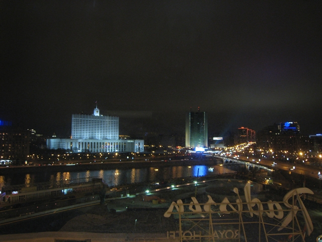 Radisson Royal Moscow Hotel Review - River View at night