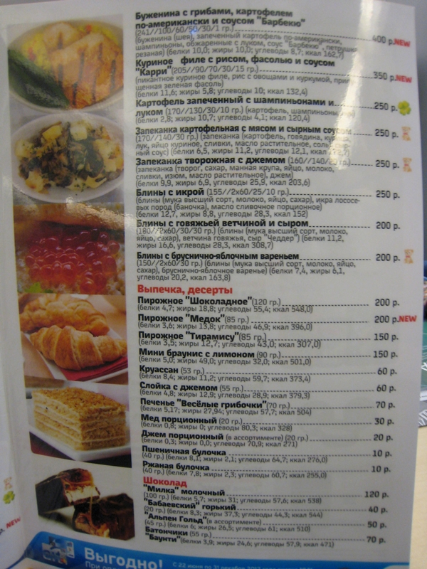 Sapsan Train Moscow St. Petersburg Review and Tips - Menu