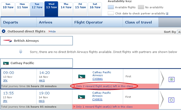 How to Find Cathay Award Availability with British Airways
