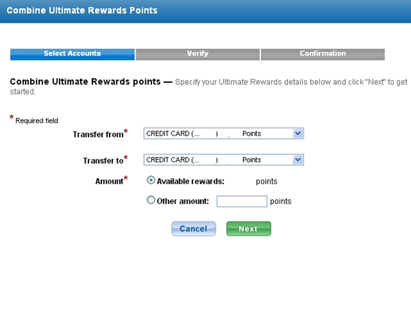 Transfer Chase Freedom points to Ultimate Rewards account