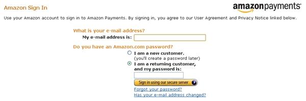 Amazon Payments Login