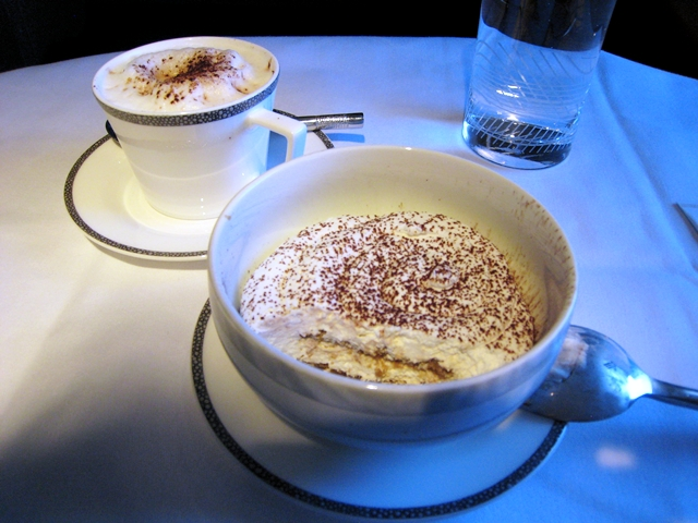 Singapore First Class Review - Tiramisu and Cappuccino