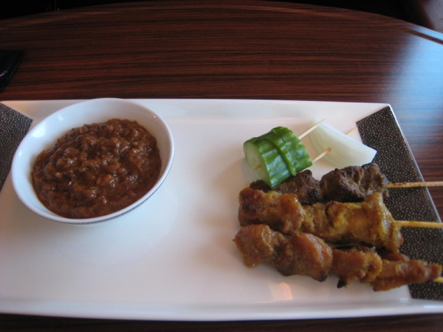 Singapore First Class Review - Satay with Peanut Sauce