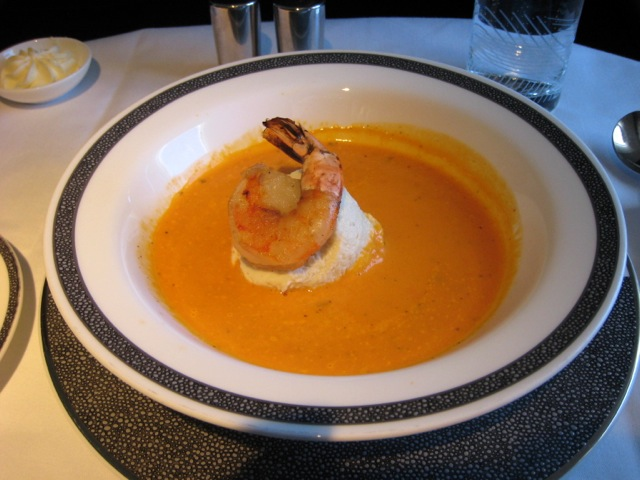 Singapore First Class Review - Tomato Soup with Prawn