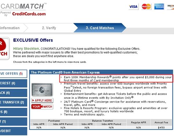 AMEX Platinum 100K Bonus Offer - Card Matches