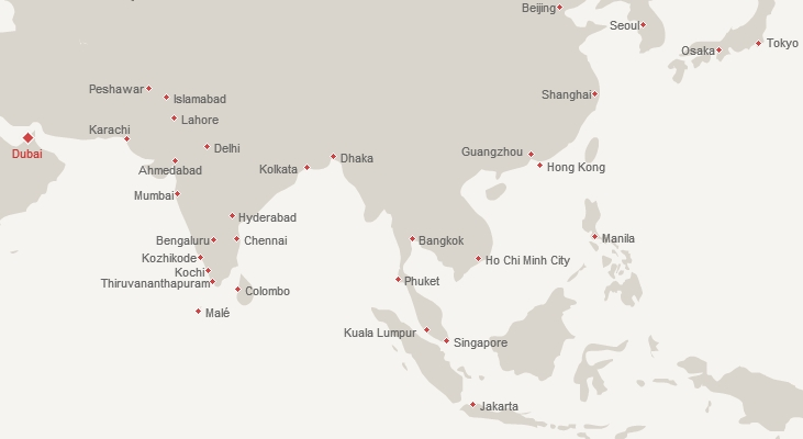 Emirates Route Map for India, Middle East and Asia
