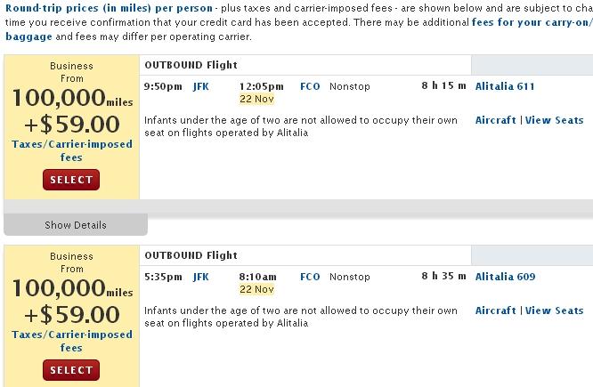 Alitalia Award Availability on Delta - 100,000 Skymiles Roundtrip to Rome