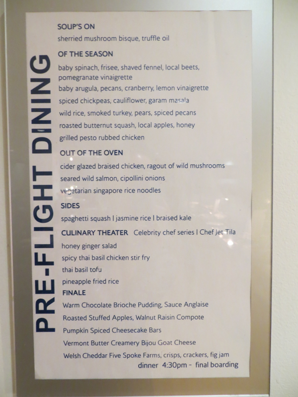 Cathay Pacific First Class JFK Lounge Pre-Flight Dining Menu