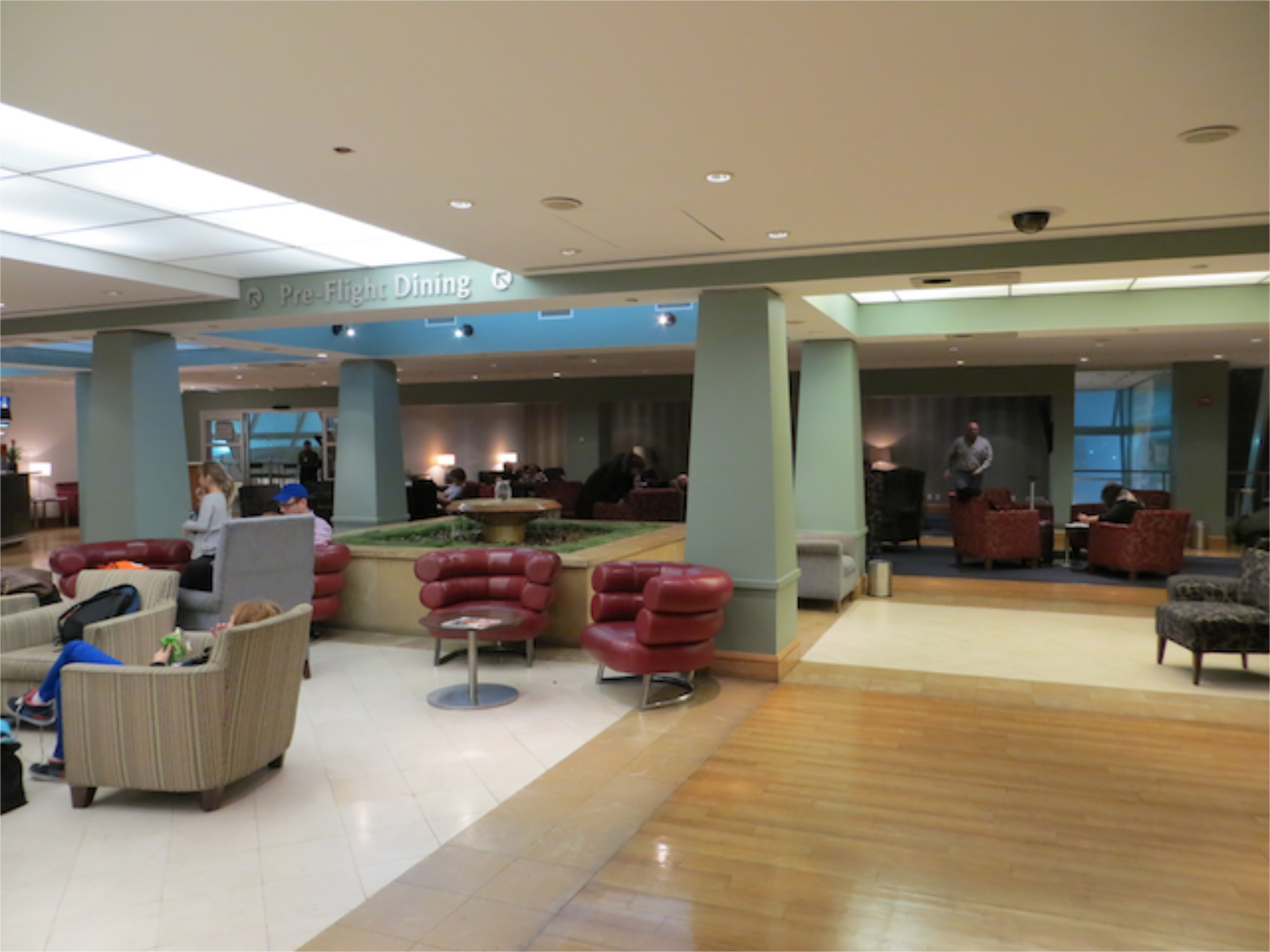 British Airways Galleries Lounge JFK - Fountain and Seating Area