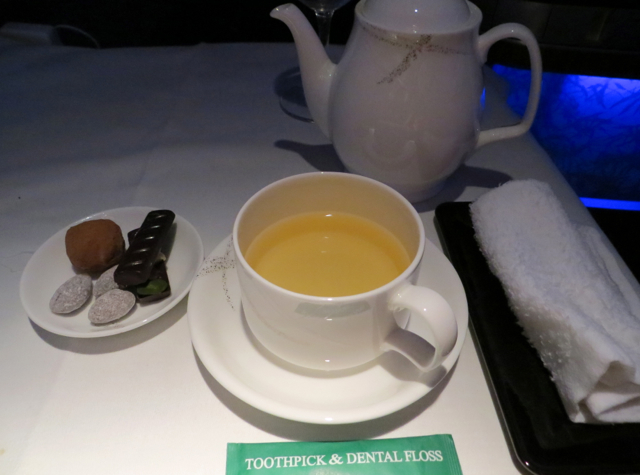 Cathay Pacific First Class NYC to Vancouver - Tea and Pralines