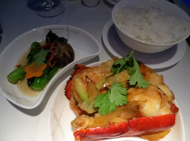 Cathay Pacific First Class NYC to Vancouver - Stir Fried Lobster
