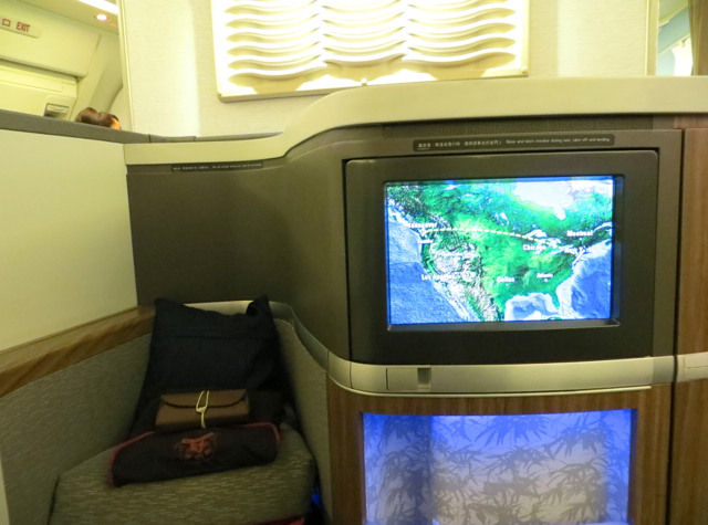 Cathay Pacific First Class - IFE and Ottoman
