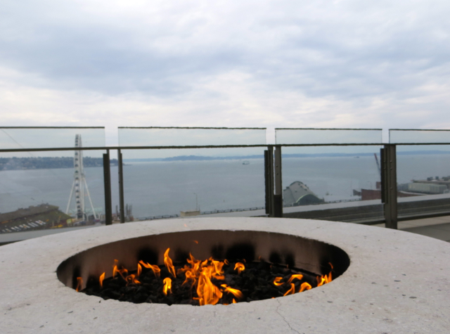 Four Seasons Seattle Hotel Review: Terrace Fire Pit with View of Elliott Bay
