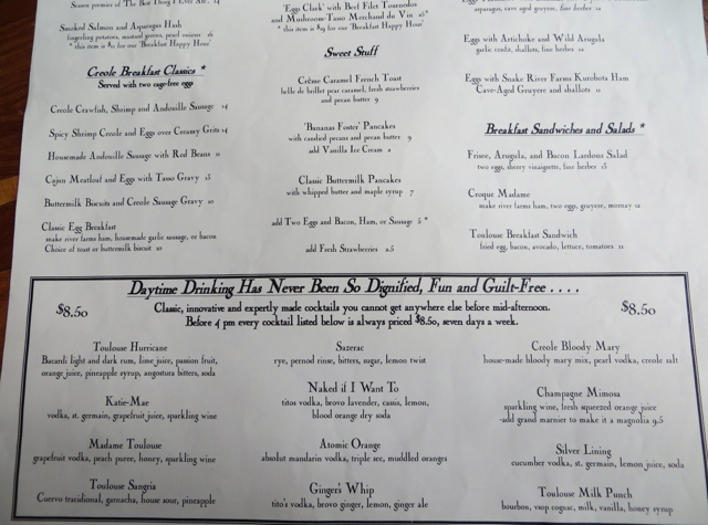 Breakfast and Drinks Menu  Toulouse Petit  SeattleToulouse Petit Seattle Restaurant Review   TravelSort. Dinner Seattle Space Needle. Home Design Ideas