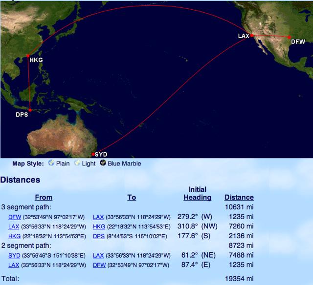 American Oneworld Explorer Award Distance Zone 6 to Asia and Australia