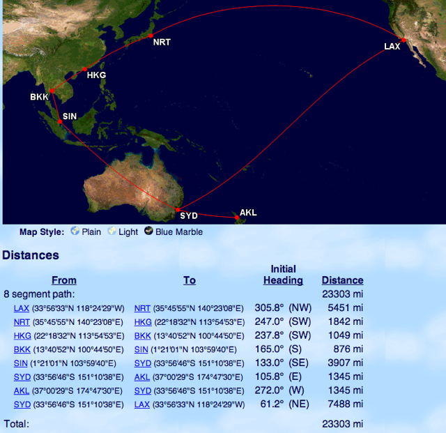 American AAdvantage Oneworld Explorer Award Asia Australia New Zealand on Qantas and Cathay Pacific