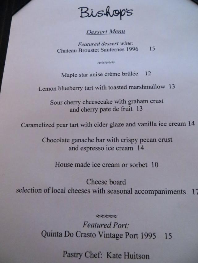 Bishop's Vancouver Restaurant Review - Dessert Menu
