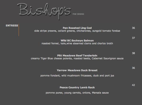 Bishop's Vancouver Restaurant Menu, Spring 2013
