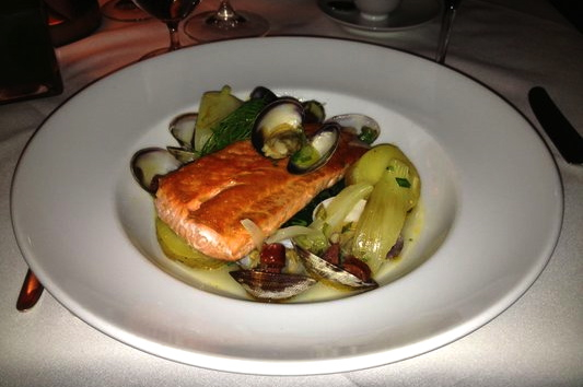 Bishop's Vancouver Restaurant Review - Wild Sockeye Salmon with Steamed Clams and Chorizo Broth