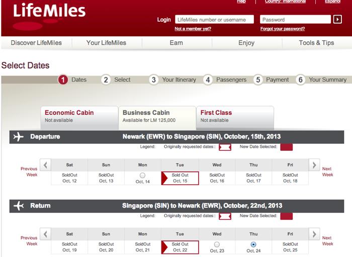 Singapore Business Class Bookable with AviancaTaca Miles