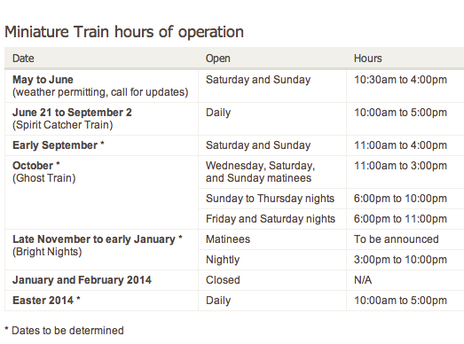 Stanley Park Miniature Train Dates and Times