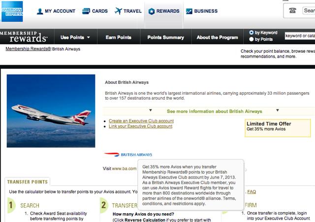 35 Percent AMEX Transfer Bonus to British Airways Avios