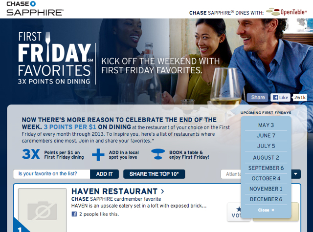 Sapphire Preferred Triple Points for Dining on First Fridays