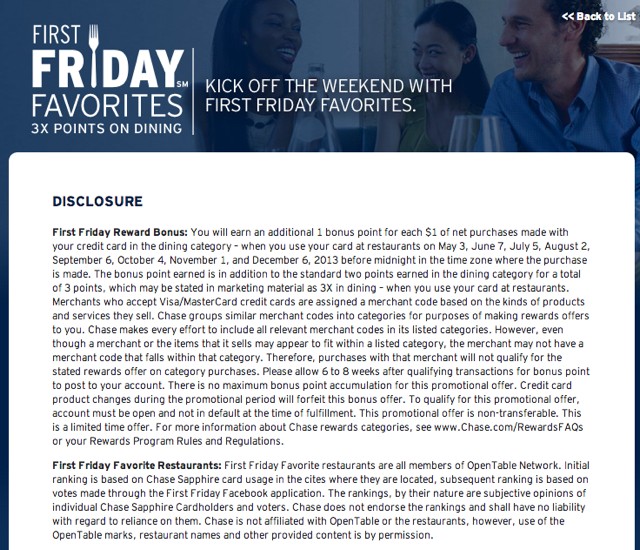 Sapphire Preferred Triple Points for Dining on First Fridays-Terms and Conditions