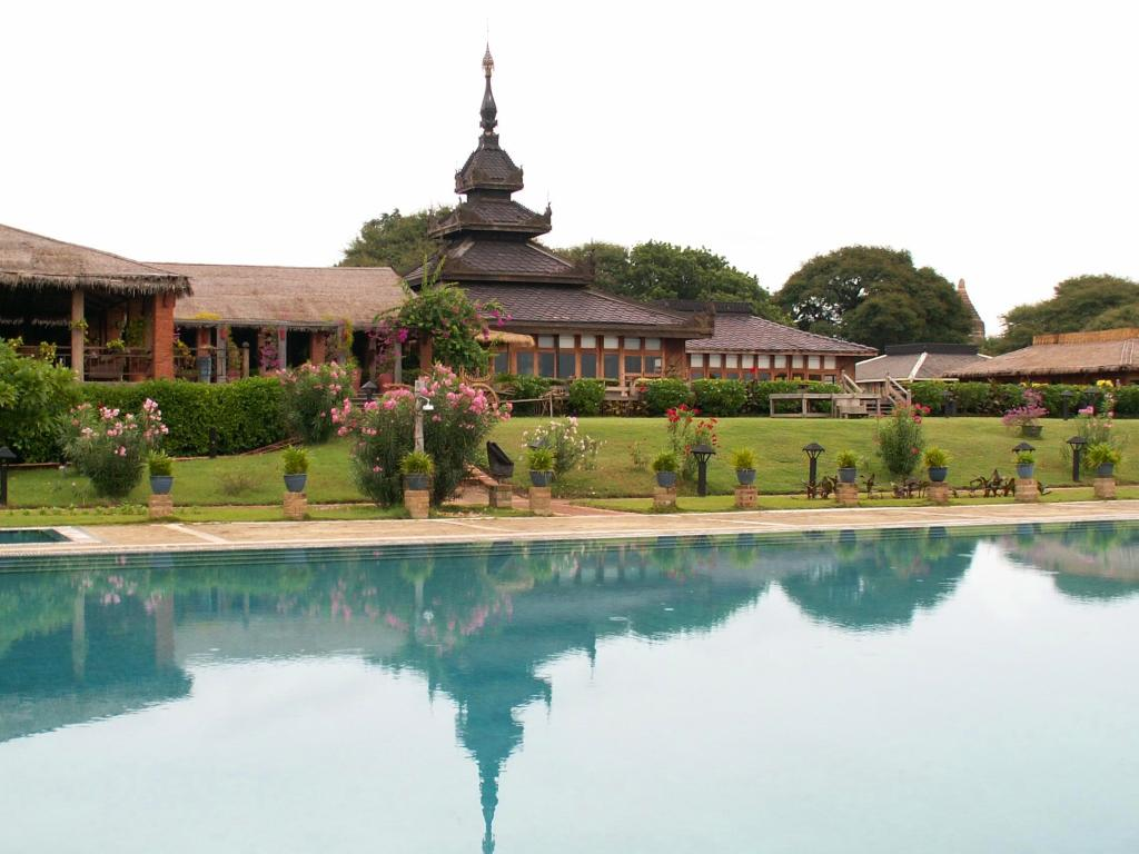 A view of one of the swankier resorts in Bagan